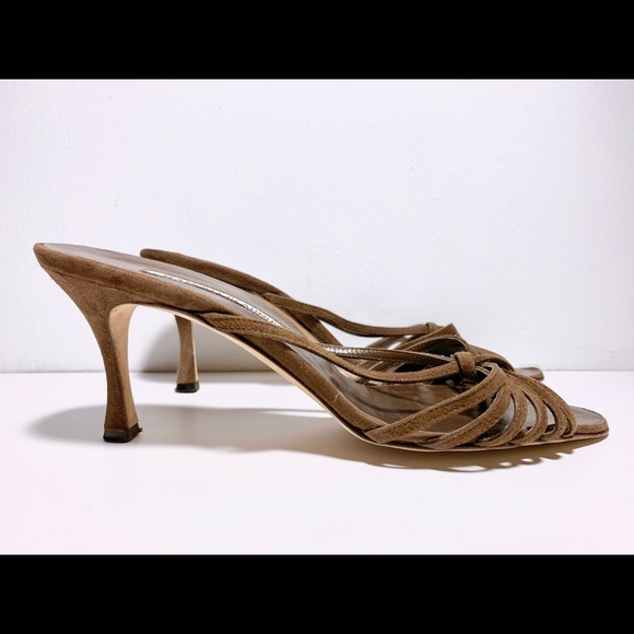 Manolo Blahnik Brown Suede Knotted Heels size 38.5
